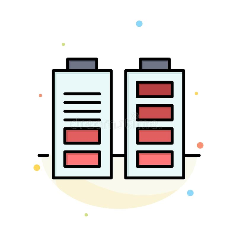 Accumulator, Battery, Power, Full Abstract Flat Color Icon Template vector illustration