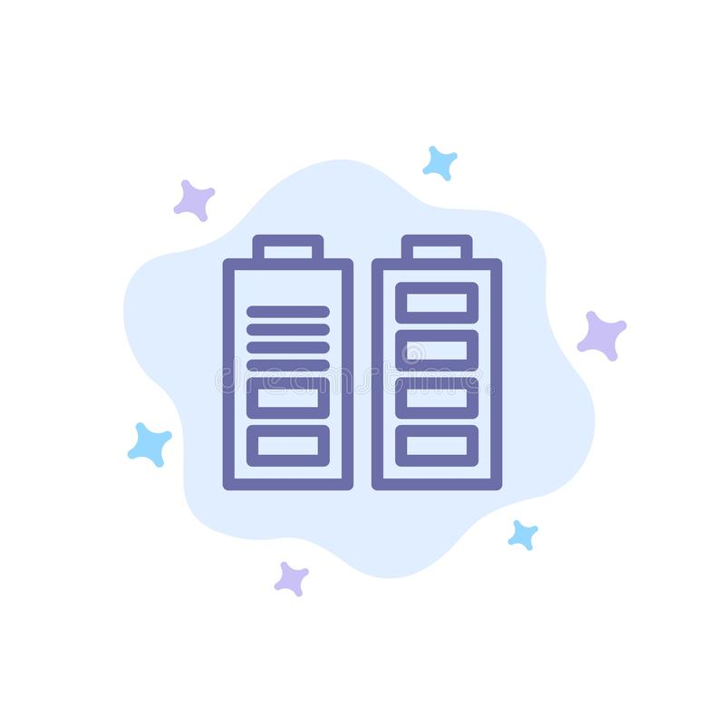 Accumulator, Battery, Power, Full Blue Icon on Abstract Cloud Background stock illustration