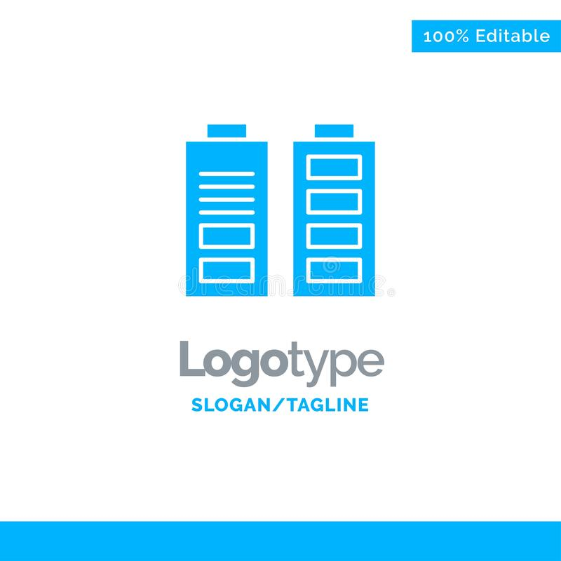 Accumulator, Battery, Power, Full Blue Solid Logo Template. Place for Tagline vector illustration