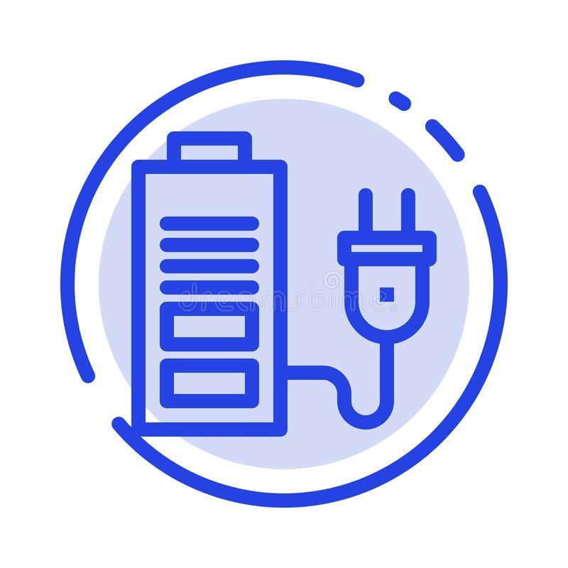 Accumulator, Battery, Power, Plug Blue Dotted Line Line Icon royalty free illustration