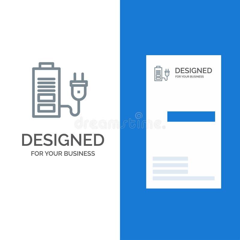 Accumulator, Battery, Power, Plug Grey Logo Design and Business Card Template vector illustration