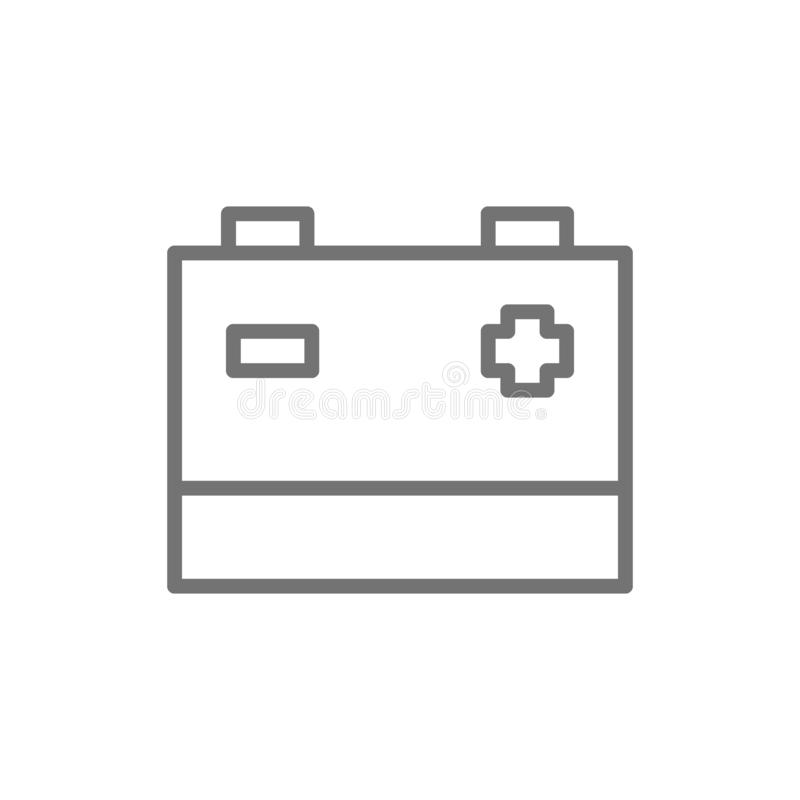 Accumulator, car battery line icon. Isolated on white background. Vector accumulator, car battery line icon. Symbol and sign illustration design. Isolated on vector illustration