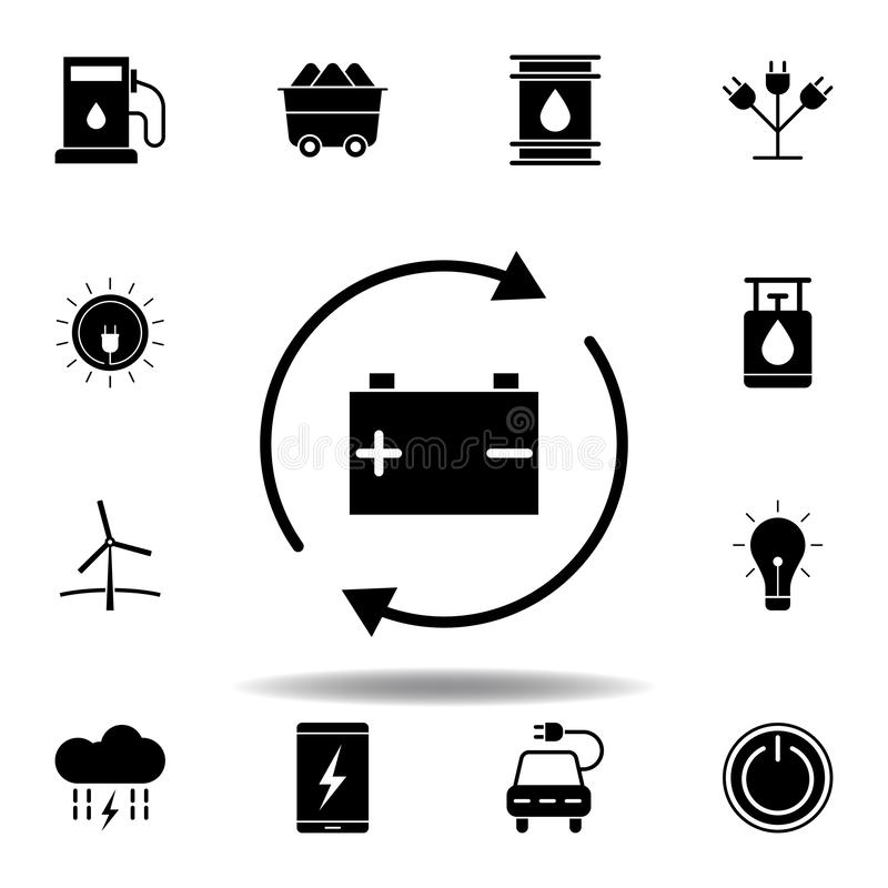 Accumulator icon . Set of alternative energy illustrations icons. Can be used for web, logo, mobile app, UI, UX. On white background vector illustration