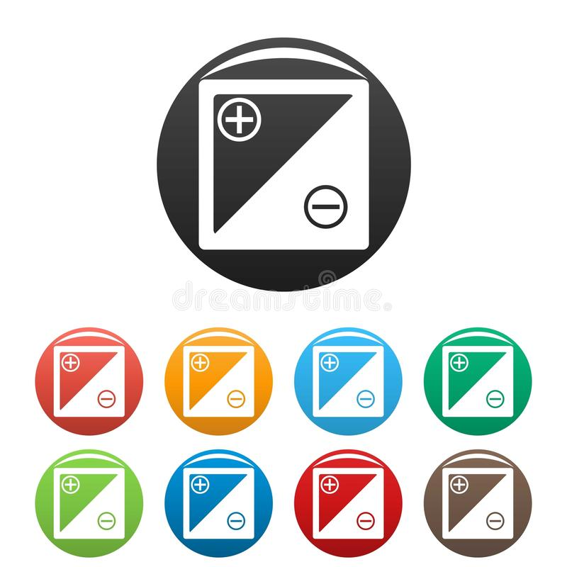 Accumulator icons set. Simple set of accumulator icons in different colors isolated on white vector illustration