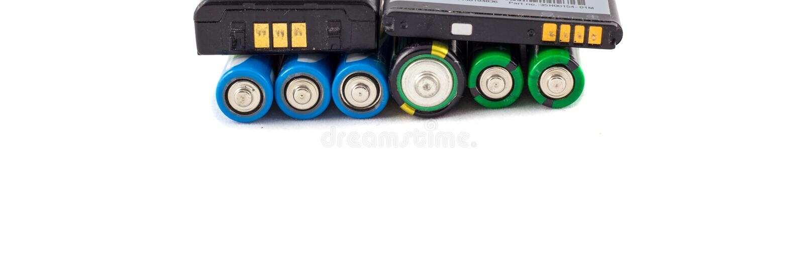 Accumulators and batteries. Isolated on white background stock image