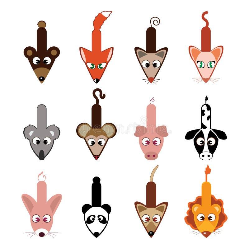 Accumulazione animale dei cursori illustrazione di stock