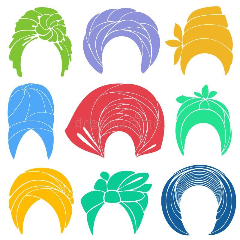 accumulazione Copricapo nazionale tradizionale, turbante Sciarpa lavorata a maglia Logo, simbolo, schema Immagine grafica Insieme illustrazione di stock