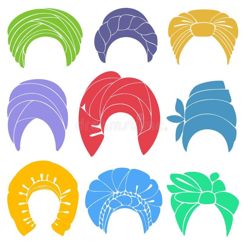 accumulazione Copricapo nazionale tradizionale, turbante Sciarpa lavorata a maglia Logo, simbolo, schema Immagine grafica Insieme illustrazione vettoriale