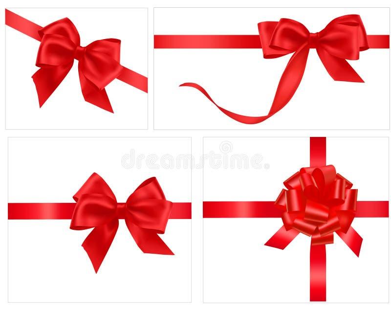 Accumulazione degli archi rossi del regalo con i nastri royalty illustrazione gratis