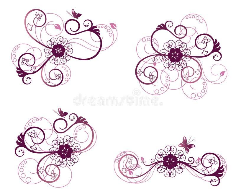 Accumulazione degli elementi di disegno floreale illustrazione di stock
