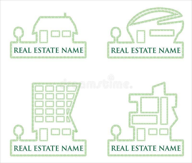 Accumulazione dei marchi verdi di vettore del bene immobile illustrazione di stock