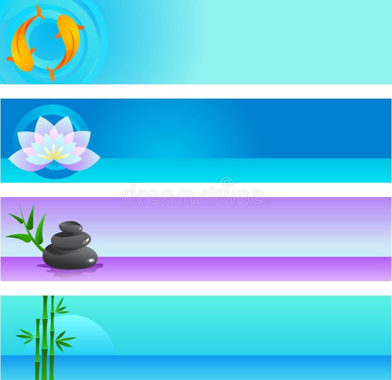 Accumulazione dei modelli di vettore di zen con il marchio illustrazione vettoriale