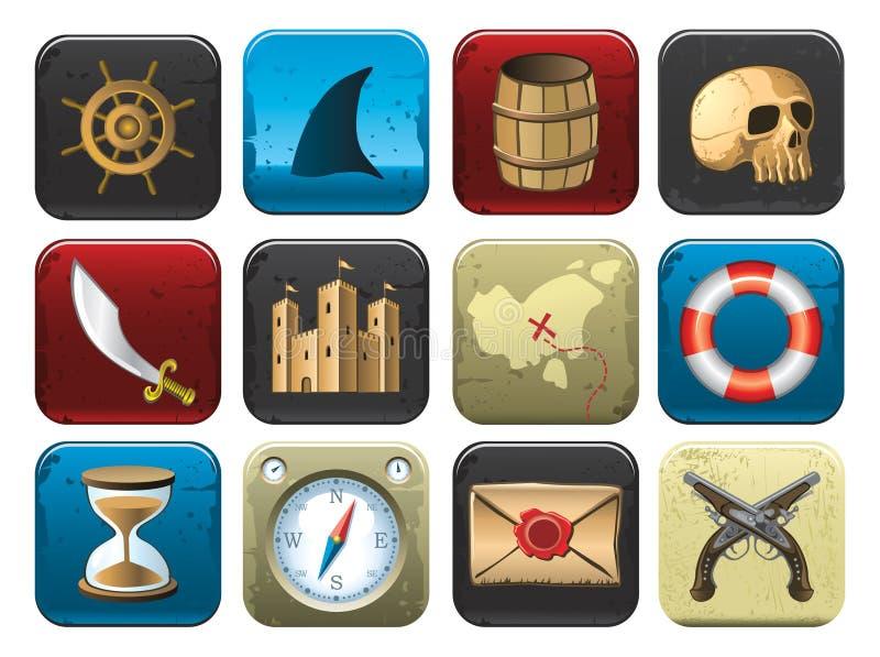 Accumulazione dei simboli del pirata royalty illustrazione gratis