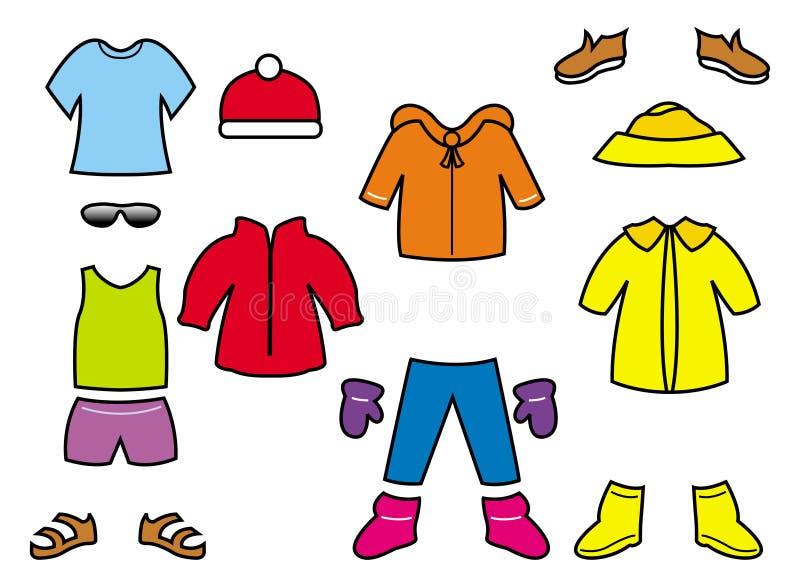 Accumulazione dei vestiti dei bambini illustrazione vettoriale