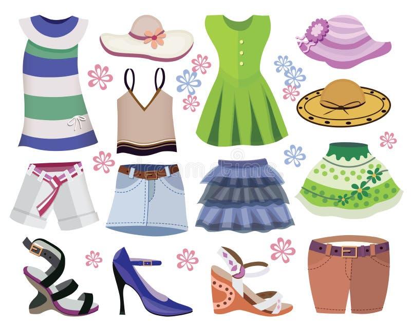 Accumulazione dei vestiti delle donne illustrazione di stock
