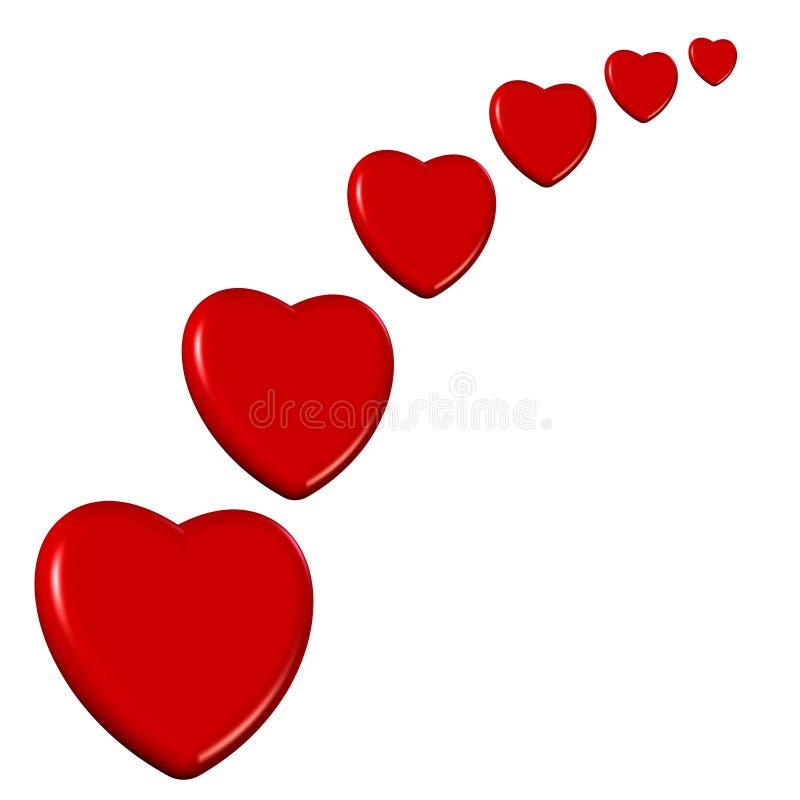 Accumulazione del cuore di giorno dei biglietti di S. Valentino illustrazione di stock
