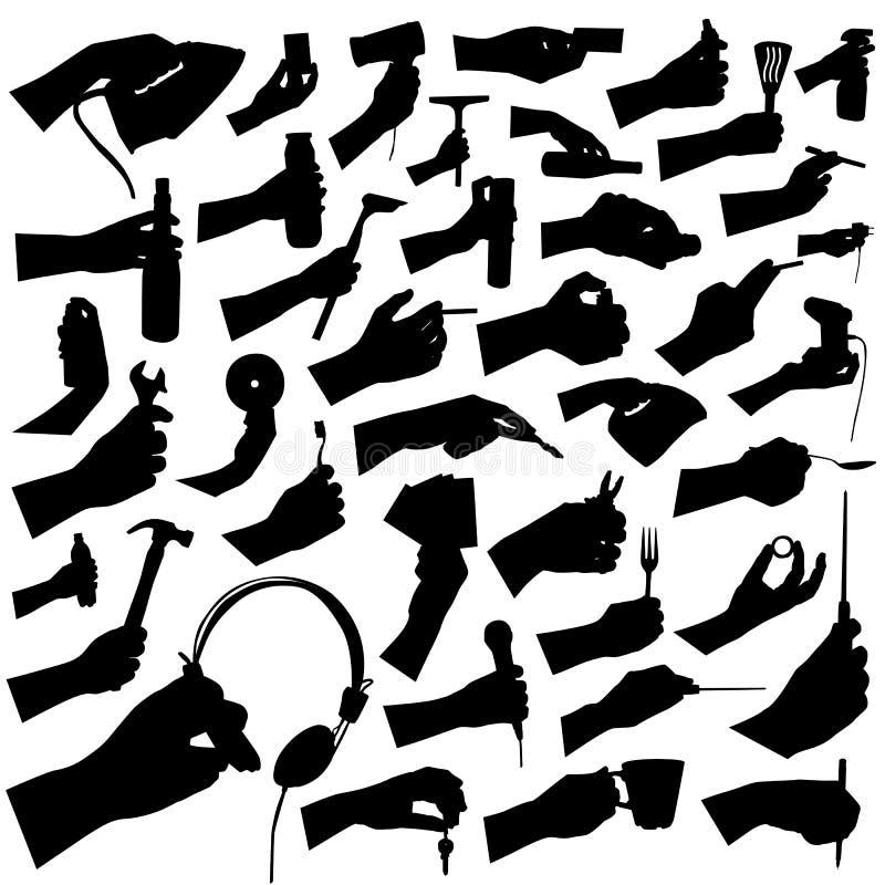 Accumulazione del vettore dello strumento e della mano illustrazione di stock
