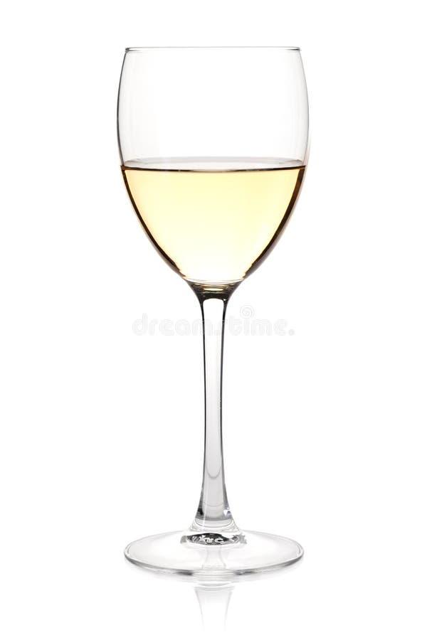 Accumulazione del vino - vino bianco in vetro fotografie stock libere da diritti