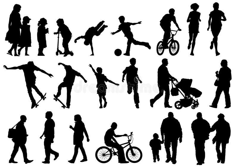 Accumulazione dell'aria aperta e della gente attiva illustrazione vettoriale
