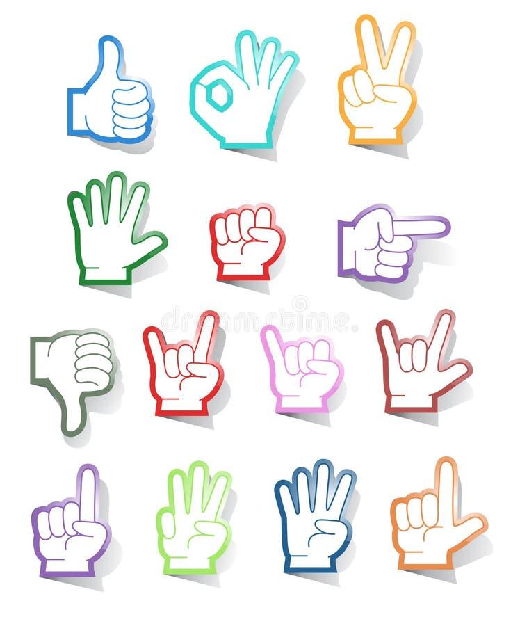 Accumulazione dell'autoadesivo del segno della mano royalty illustrazione gratis