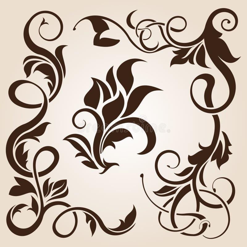 Accumulazione dell'elemento di disegno floreale del Brown illustrazione di stock