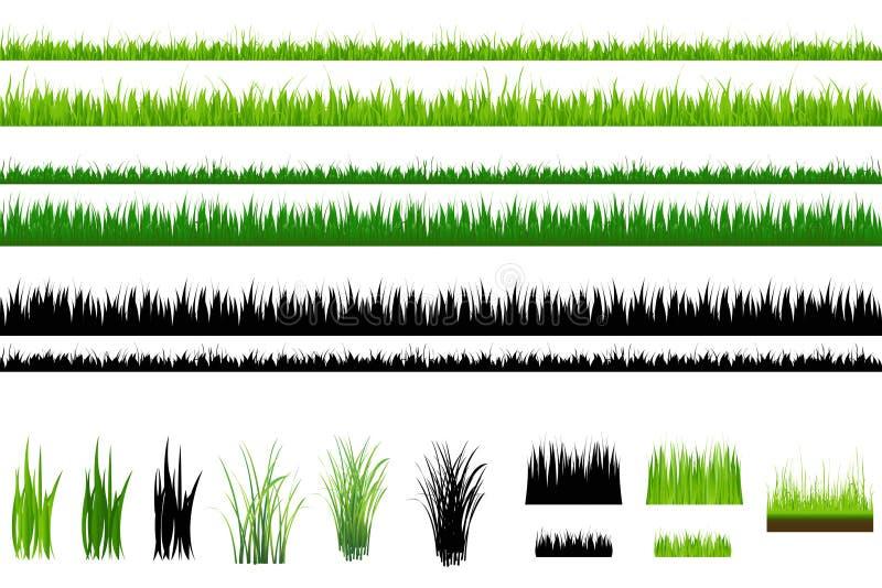 Accumulazione dell'erba, isolata su bianco. Vettore illustrazione di stock