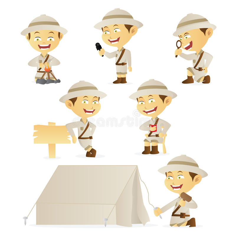 Accumulazione dell'esploratore di ragazzo royalty illustrazione gratis