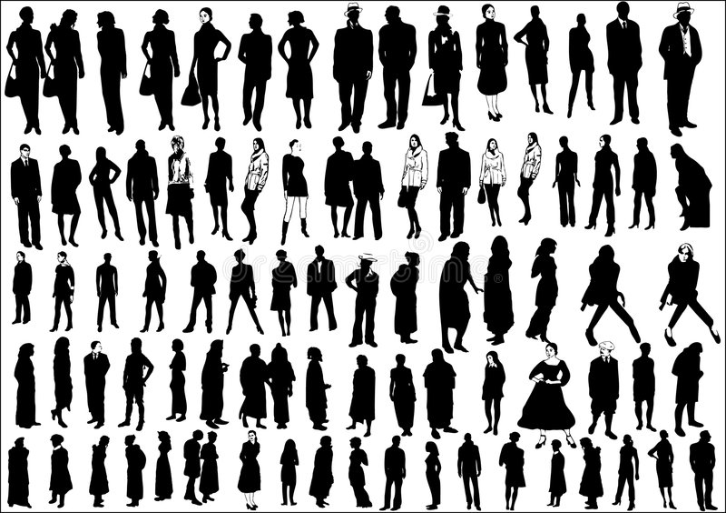 Accumulazione della gente in siluetta illustrazione vettoriale