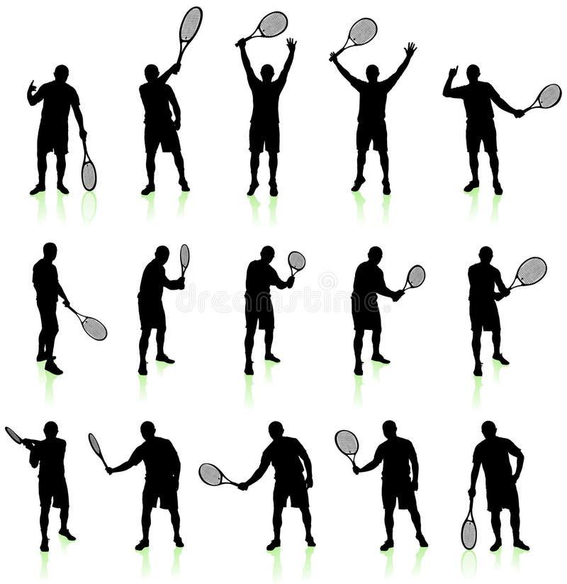 Accumulazione della siluetta del giocatore di tennis illustrazione di stock