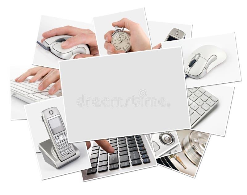 Accumulazione delle foto di tecnologia con il blocco per grafici in bianco fotografia stock libera da diritti