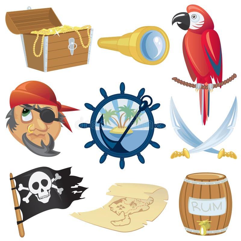Accumulazione delle icone del pirata illustrazione vettoriale