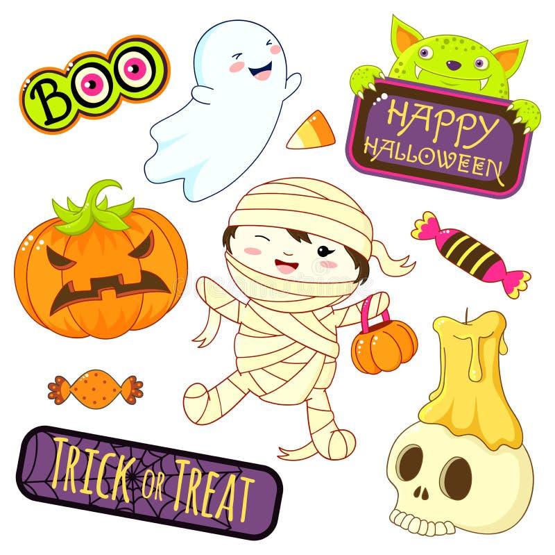 Accumulazione delle icone di Halloween illustrazione di stock