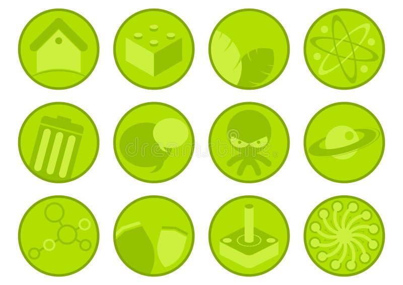 Accumulazione delle icone verdi illustrazione vettoriale