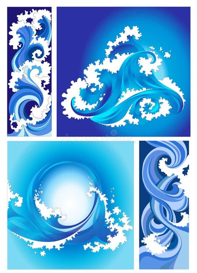 Accumulazione delle onde del fante di marina, disegno stilizzato illustrazione di stock