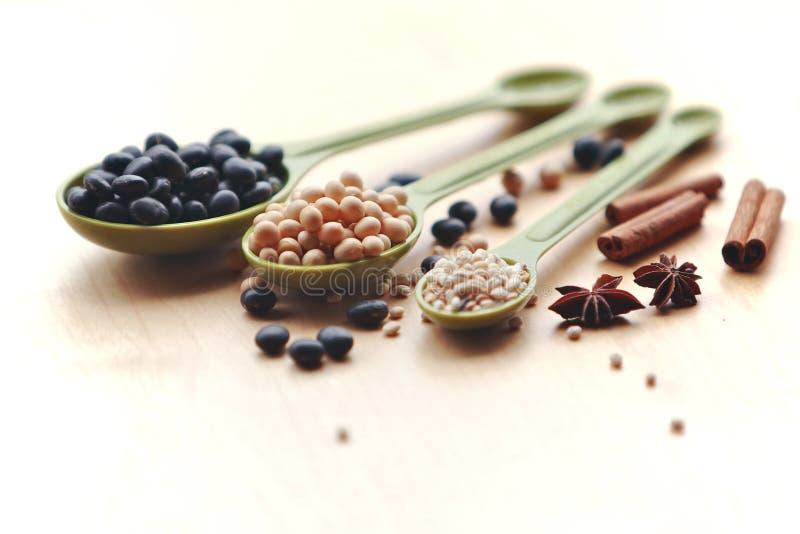 Accumulazione delle spezie in cucchiai immagini stock