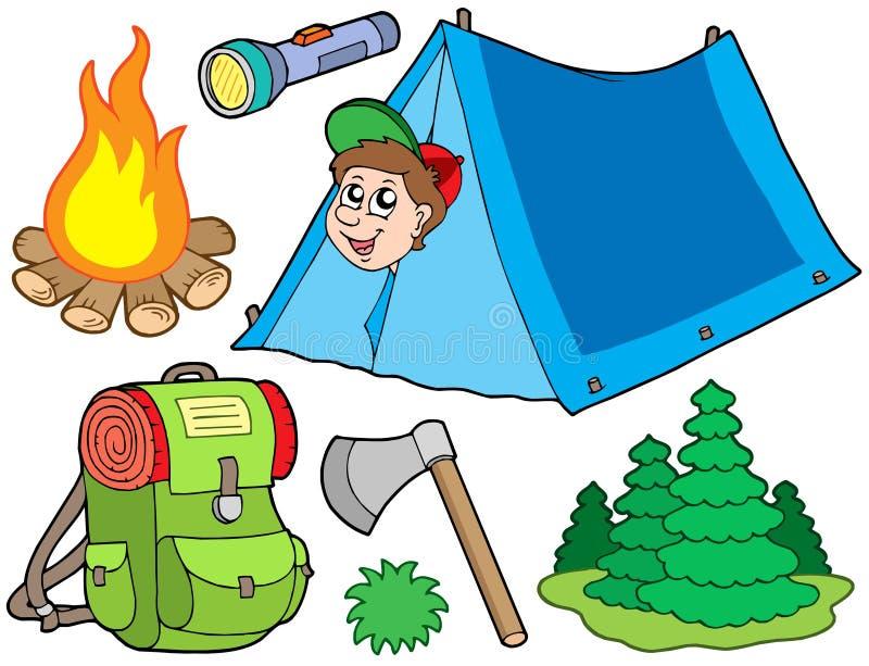 Accumulazione di campeggio illustrazione vettoriale