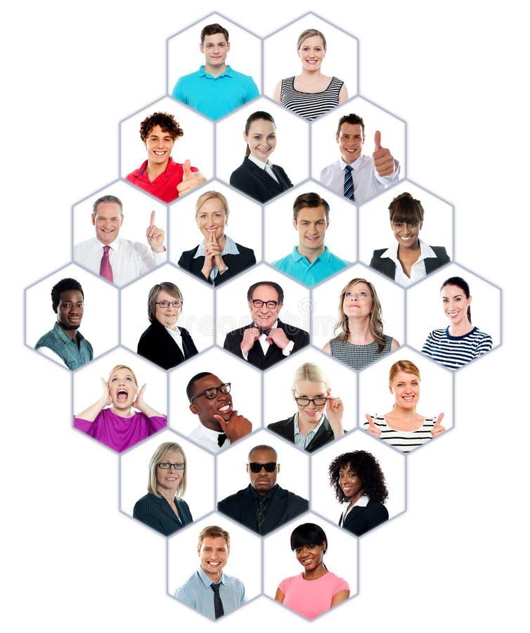 Accumulazione di Headshot del gruppo di persone multiracial fotografia stock