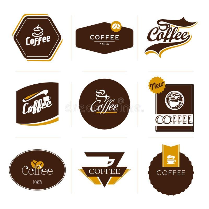 Accumulazione di retro contrassegni designati del caffè. royalty illustrazione gratis
