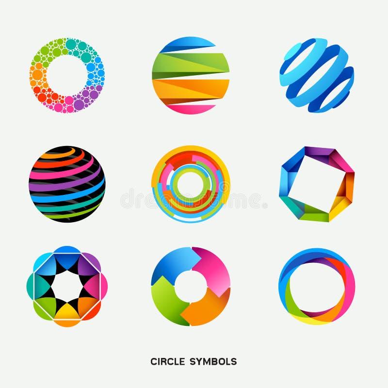 Accumulazione di simboli di disegno del cerchio illustrazione vettoriale