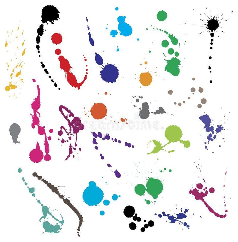 Accumulazione di vari simboli dello splatter dell'inchiostro illustrazione di stock
