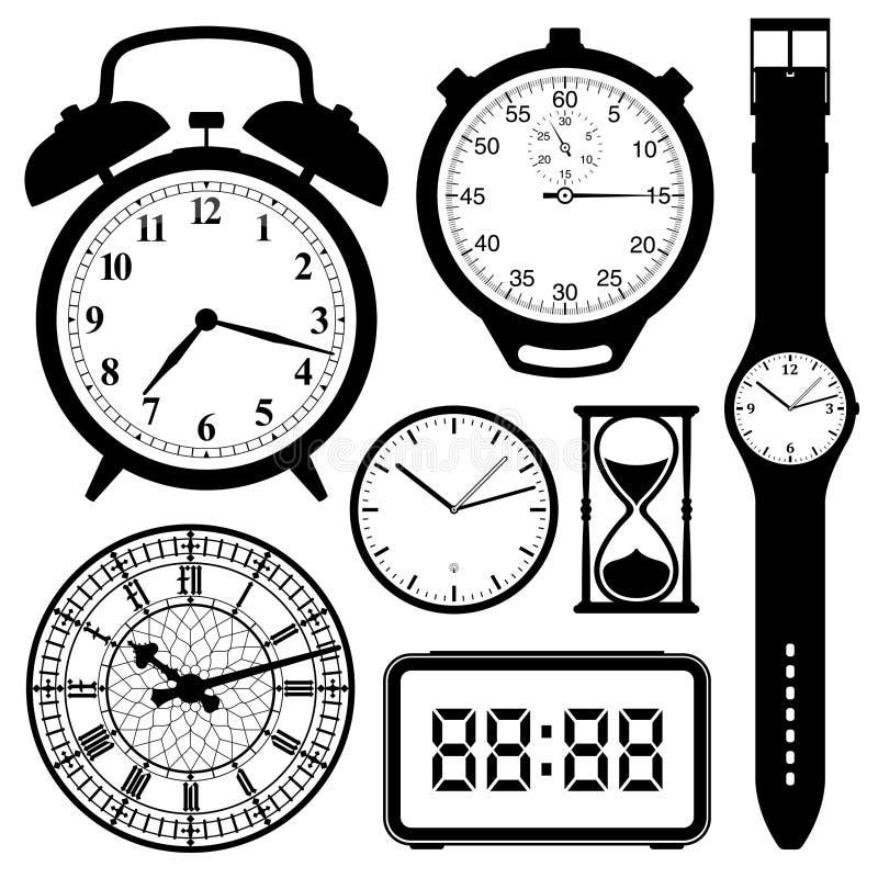 Accumulazione di vigilanza e dell'orologio illustrazione di stock