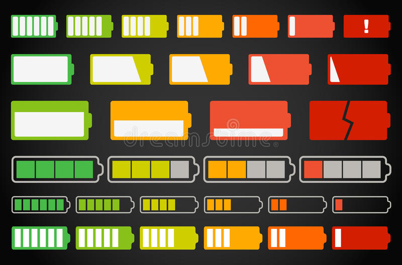 Accumulazione differente degli indicatori della batteria illustrazione vettoriale