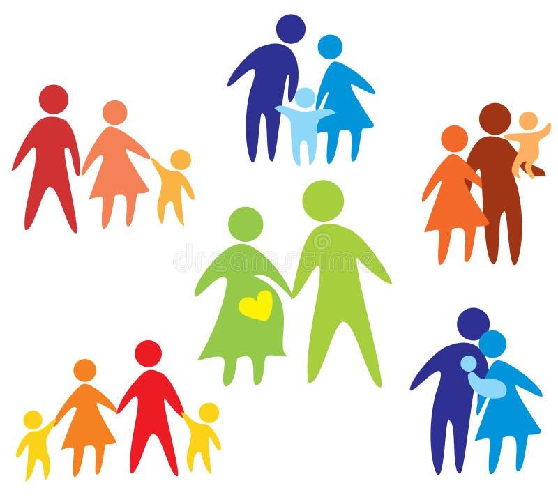 Accumulazione felice delle icone della famiglia multicolore illustrazione vettoriale