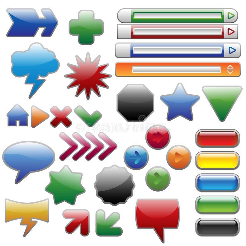 Accumulazione lucida degli elementi di Web illustrazione di stock