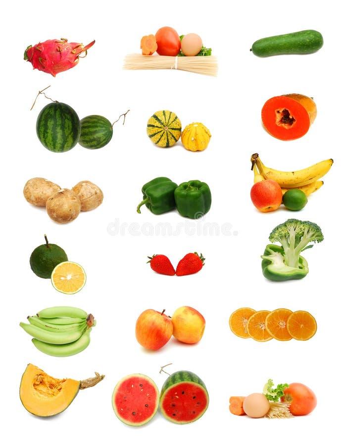 Accumulazione sana dell'alimento su bianco fotografia stock libera da diritti