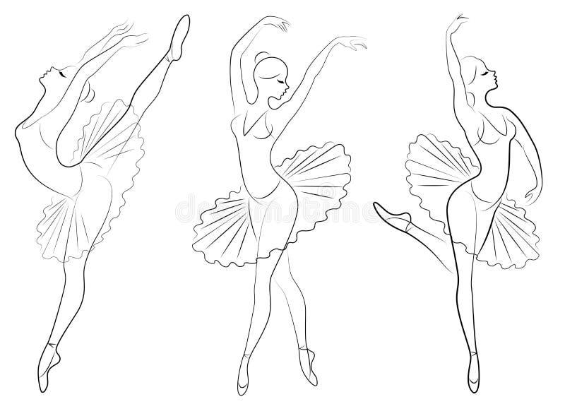accumulazione Siluetta di una signora sveglia, sta ballando il balletto La ragazza ha una bella figura Ballerina della donna Vett immagini stock