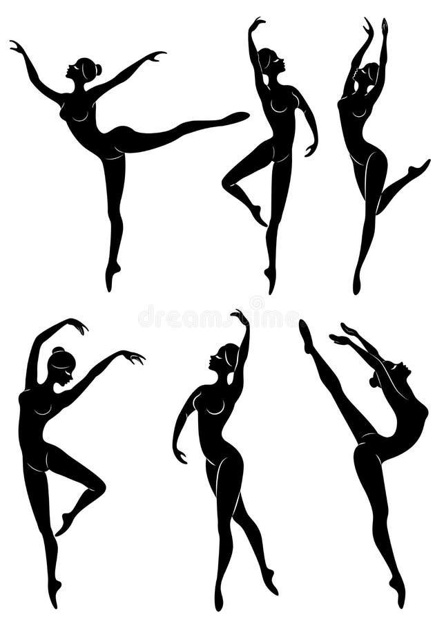 accumulazione Siluetta di una signora sveglia, sta ballando il balletto La ragazza ha una bella figura esile Ballerina della donn royalty illustrazione gratis