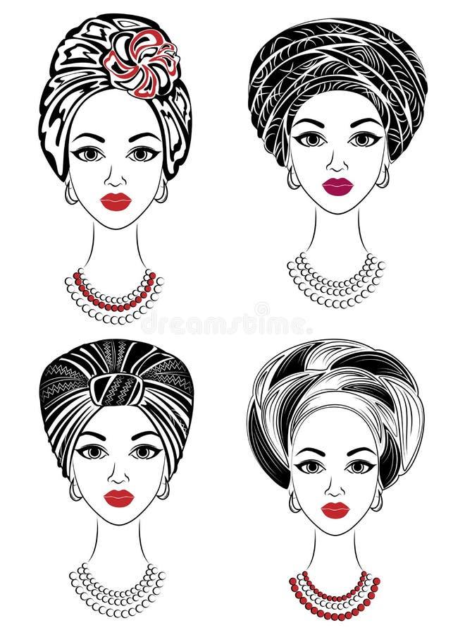 accumulazione Siluetta di una testa di una signora dolce Uno scialle luminoso, un turbante, legato alla testa di una ragazza afro illustrazione vettoriale