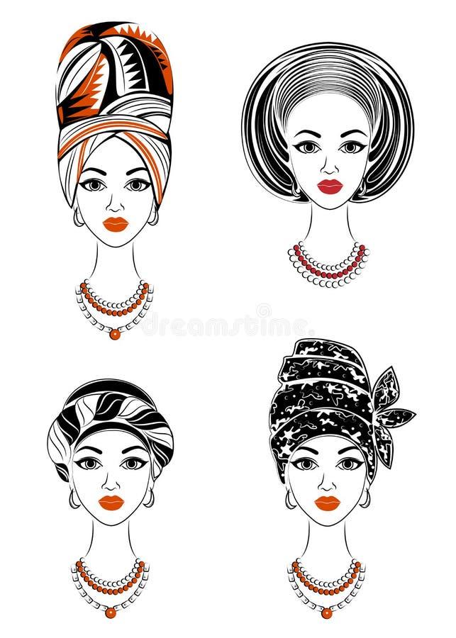 accumulazione Siluetta di una testa di una signora dolce Uno scialle luminoso, un turbante, legato alla testa di una ragazza afro illustrazione di stock