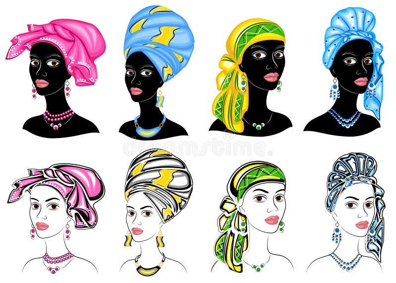 accumulazione Siluetta di una testa di una signora dolce Uno scialle luminoso, un turbante, legato alla testa di una ragazza afro royalty illustrazione gratis